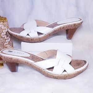 New Nine West Groovily Heels Mules White 8 Shoes